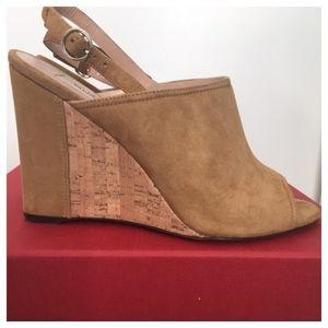 Valentino wedge sandals, suede peep-toe LIKE NEW!